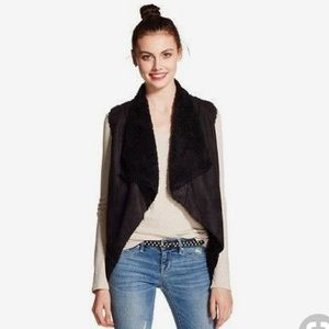Xhiliration faux suede Sherpa vest black XS Target